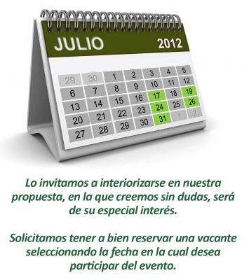 Calendario eventos en Julio 2012